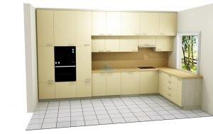 Beige beépített konyha látványterv - abutorasztalos.hu